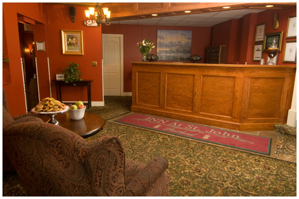 Lobby and front desk of Inn at St. John.