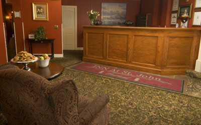 Front desk and lobby of the Portland, Maine hotel Inn at St. John.