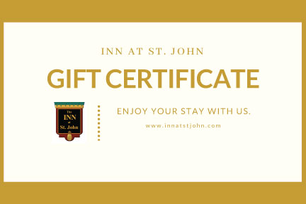 Gift certificate image with hotel logo for Inn at St. John in Portland, Maine.